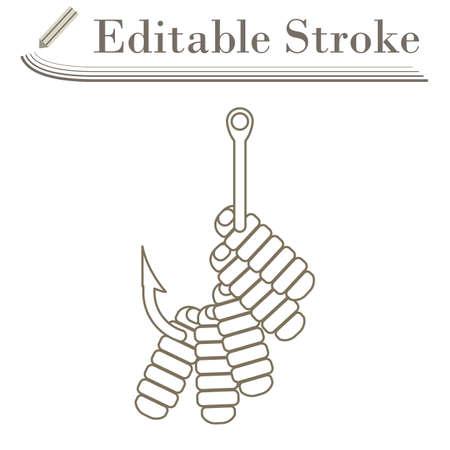 Icon Of Worm On Hook. Editable Stroke Simple Design. Vector Illustration. Illustration