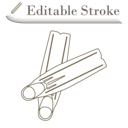 Icon Of Swimming Flippers. Editable Stroke Simple Design. Vector Illustration. Stock Illustratie