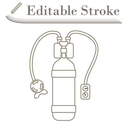 Icon Of Scuba. Editable Stroke Simple Design. Vector Illustration.