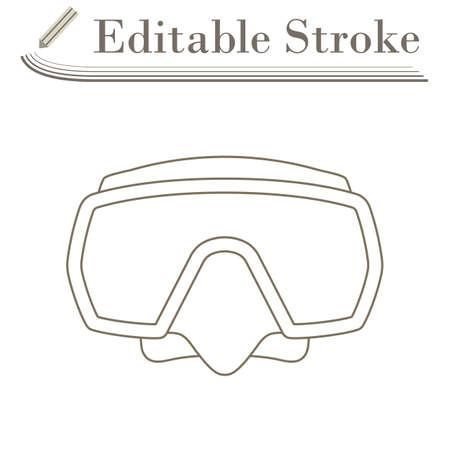Icon Of Scuba Mask. Editable Stroke Simple Design. Vector Illustration.