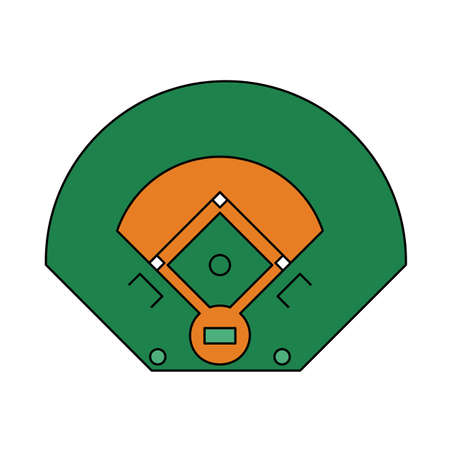 Baseball Field Aerial View Icon. Editable Outline With Color Fill Design. Vector Illustration.