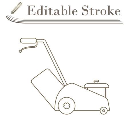 Lawn Mower Icon. Editable Stroke Simple Design. Vector Illustration.