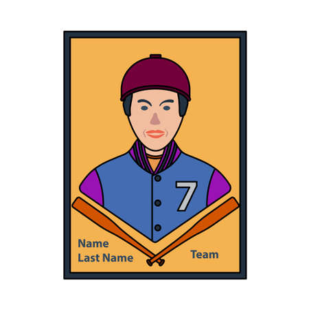 Baseball Card Icon. Editable Outline With Color Fill Design. Vector Illustration.
