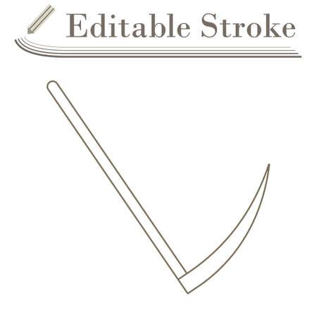 Scythe Icon. Editable Stroke Simple Design. Vector Illustration.