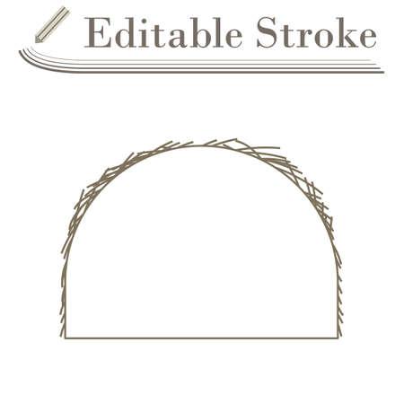 Hay Stack Icon. Editable Stroke Simple Design. Vector Illustration.