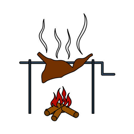 Icon Of Roasting Meat. Editable Outline With Color Fill Design. Vector Illustration.