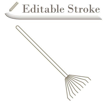 Rake Icon. Editable Stroke Simple Design. Vector Illustration.