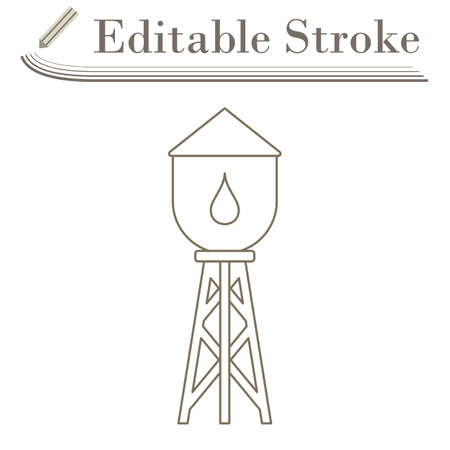 Water Tower Icon. Editable Stroke Simple Design. Vector Illustration.