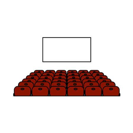 Cinema Auditorium Icon. Editable Outline With Color Fill Design. Vector Illustration.