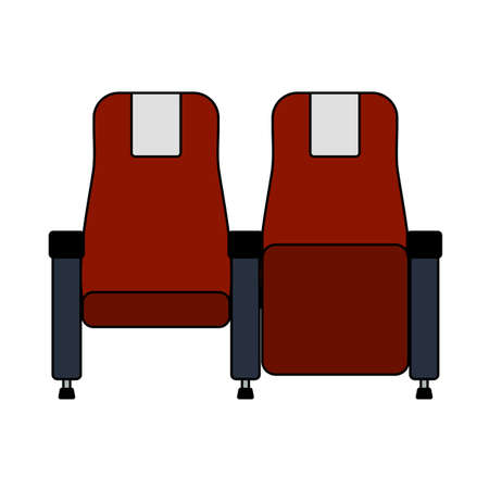 Cinema Seats Icon. Editable Outline With Color Fill Design. Vector Illustration.