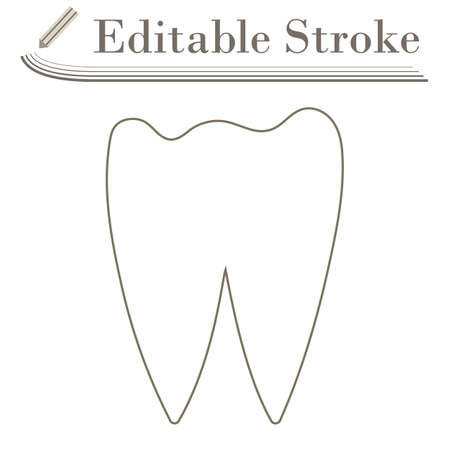 Tooth Icon. Editable Stroke Simple Design. Vector Illustration.