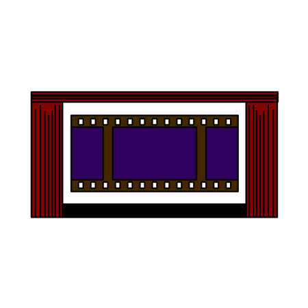 Cinema Theater Auditorium Icon. Editable Outline With Color Fill Design. Vector Illustration.
