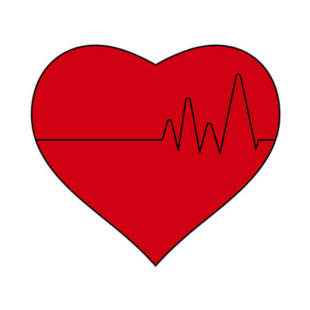 Icon Of Heart With Cardio Diagram. Editable Outline With Color Fill Design. Vector Illustration.