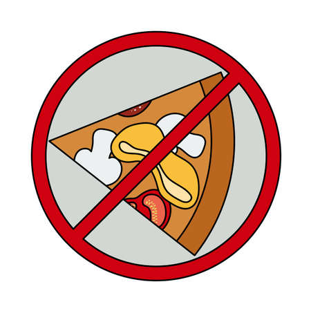 Icon Of Prohibited Pizza. Editable Outline With Color Fill Design. Vector Illustration.