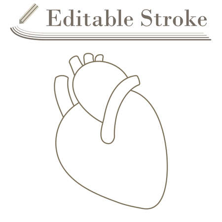 Human Heart Icon. Editable Stroke Simple Design. Vector Illustration.