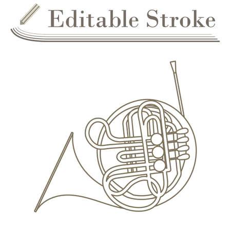 Horn Icon. Editable Stroke Simple Design. Vector Illustration.