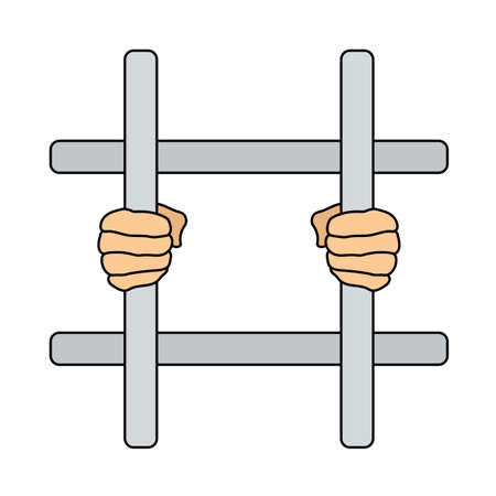 Hands Holding Prison Bars Icon. Editable Outline With Color Fill Design. Vector Illustration.