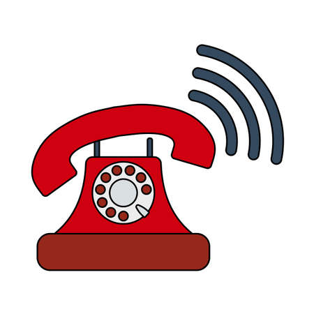 Old Telephone Icon. Editable Outline With Color Fill Design.