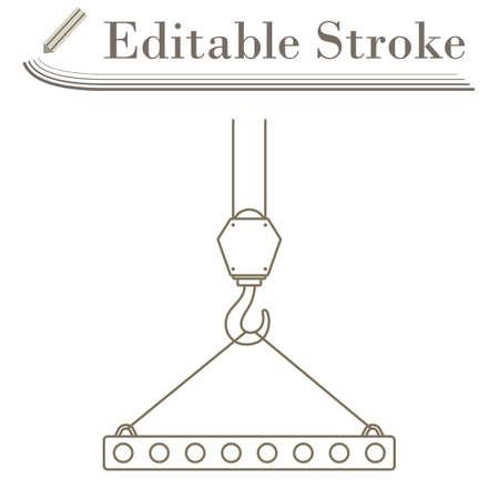 Icon Of Slab Hanged On Crane Hook By Rope Slings. Editable Stroke Simple Design.