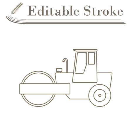 Icon Of Road Roller. Editable Stroke Simple Design.