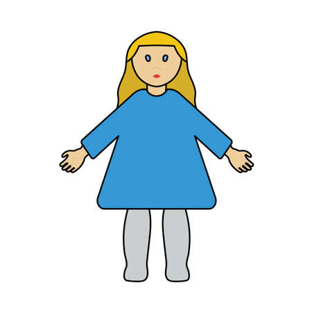 Doll Toy Icon. Editable Outline With Color Fill Design. Vector Illustration.
