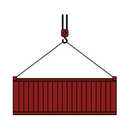 Crane Hook Lifting Container. Editable Outline With Color Fill Design.