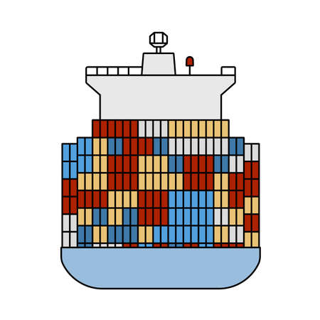 Container Ship Icon. Editable Outline With Color Fill Design. Vector Illustration. 向量圖像