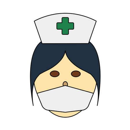 Nurse Head Icon. Editable Outline With Color Fill Design. Vector Illustration. Çizim
