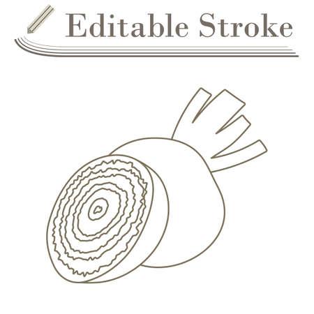 Beetroot Icon. Editable Stroke Simple Design. Vector Illustration.