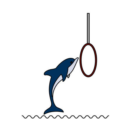 Jump Dolphin Icon. Editable Outline With Color Fill Design. Vector Illustration.