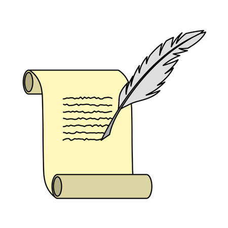 Feather And Scroll Icon. Editable Outline With Color Fill Design. Vector Illustration. Çizim