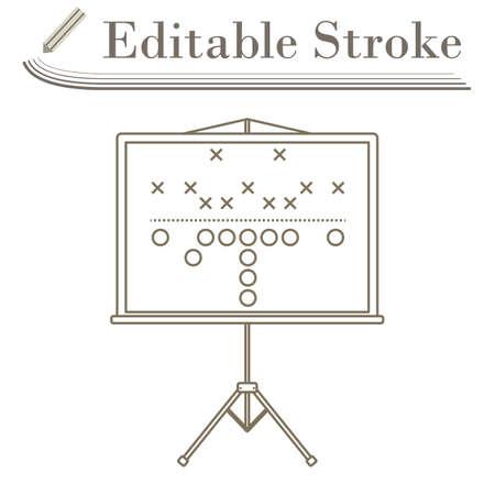 American Football Game Plan Stand Icon. Editable Stroke Simple Design. Vector Illustration. Illusztráció
