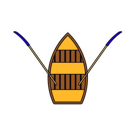 Paddle Boat Icon. Editable Outline With Color Fill Design. Vector Illustration.