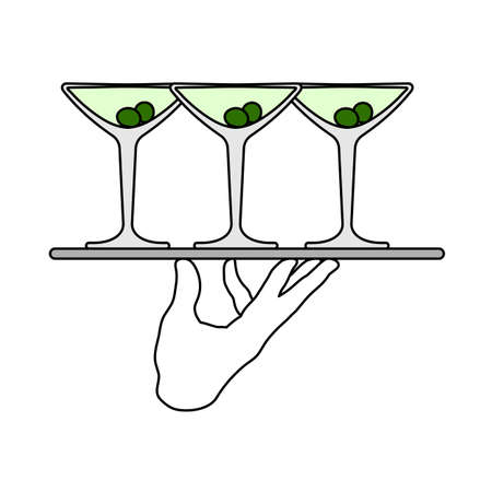 Waiter Hand Holding Tray With Martini Glasses Icon. Editable Outline With Color Fill Design. Vector Illustration. 矢量图像