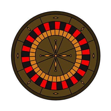 Roulette Wheel Icon. Editable Outline With Color Fill Design. Vector Illustration.