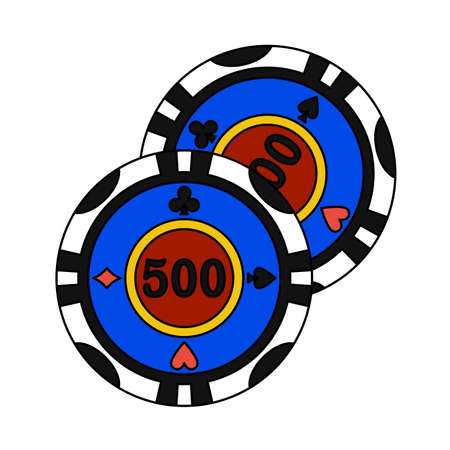 Casino Chips Icon. Editable Outline With Color Fill Design. Vector Illustration. 矢量图像