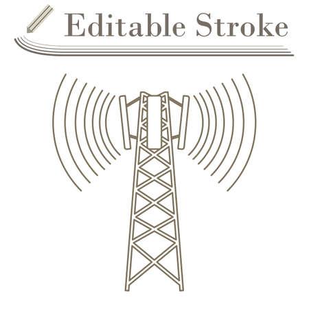 Cellular Broadcasting Antenna Icon. Editable Stroke Simple Design. Vector Illustration.