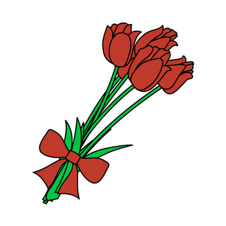 Tulips Bouquet Icon With Tied Bow. Editable Outline With Color Fill Design. Vector Illustration.