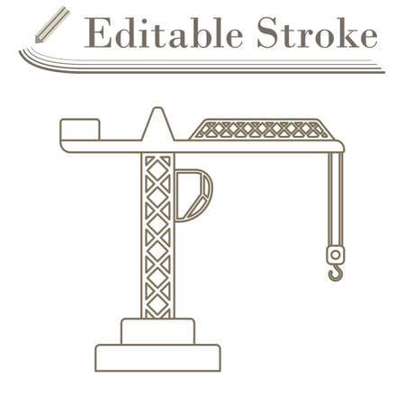 Icon Of Crane. Editable Stroke Simple Design. Vector Illustration.