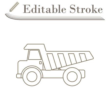 Icon Of Tipper. Editable Stroke Simple Design. Vector Illustration.