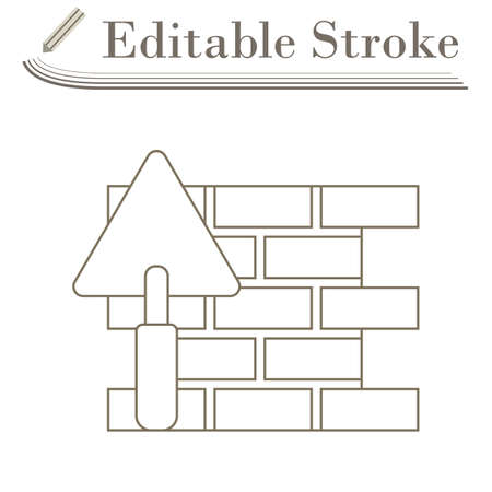 Icon Of Brick Wall With Trowel. Editable Stroke Simple Design. Vector Illustration.