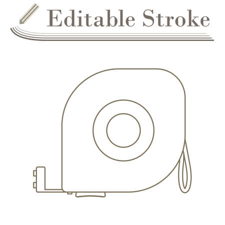 Icon Of Constriction Tape Measure. Editable Stroke Simple Design. Vector Illustration.