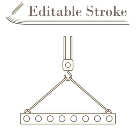 Icon Of Slab Hanged On Crane Hook. Editable Stroke Simple Design. Vector Illustration.