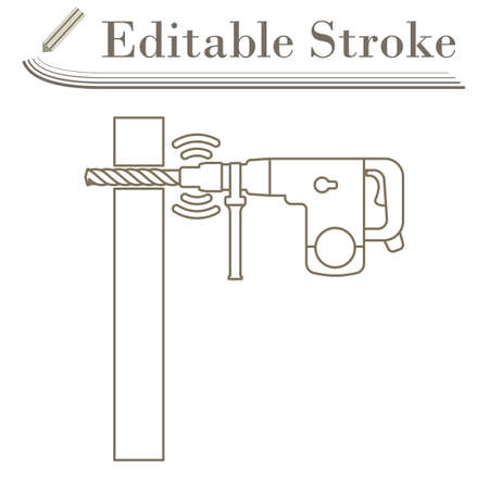 Icon Of Perforator Drilling Wall. Editable Stroke Simple Design. Vector Illustration. Çizim