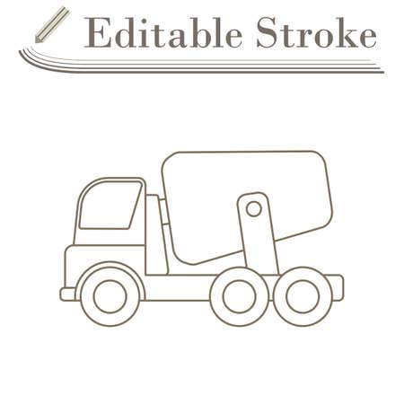 Icon Of Concrete Mixer Truck. Editable Stroke Simple Design. Vector Illustration.