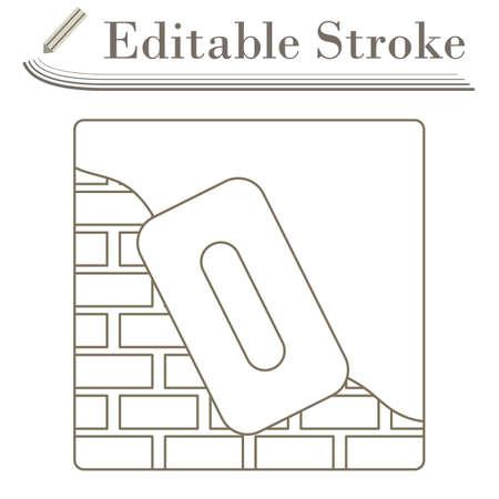 Icon Of Plastered Brick Wall. Editable Stroke Simple Design. Vector Illustration.