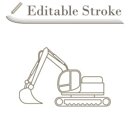 Icon Of Construction Bulldozer. Editable Stroke Simple Design. Vector Illustration.
