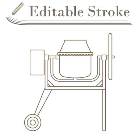 Icon Of Concrete Mixer. Editable Stroke Simple Design. Vector Illustration.