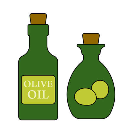 Bottle Of Olive Oil Icon. Editable Outline With Color Fill Design. Vector Illustration.