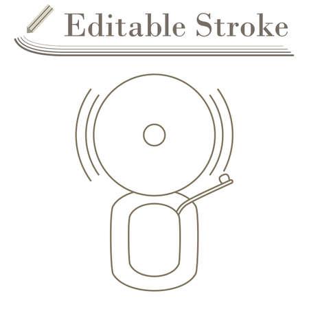 Fire Alarm Icon. Editable Stroke Simple Design. Vector Illustration. Çizim